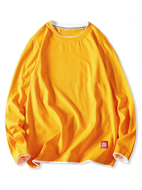 sale Contrast Tipping Long Sleeve Basic T-shirt - SUN YELLOW M