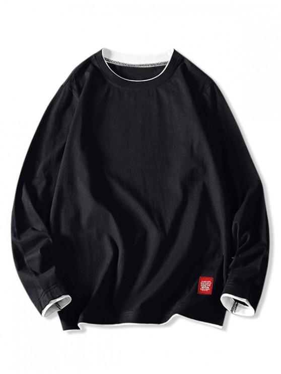 women's Contrast Tipping Long Sleeve Basic T-shirt - BLACK L