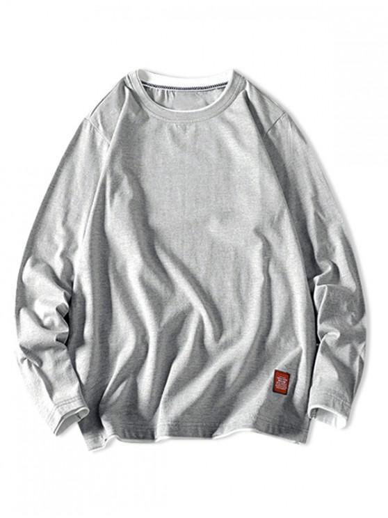 trendy Contrast Tipping Long Sleeve Basic T-shirt - LIGHT GRAY XS