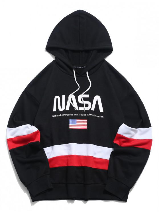 affordable ZAFUL American Flag Color Blocking Letter Print Hoodie - BLACK M