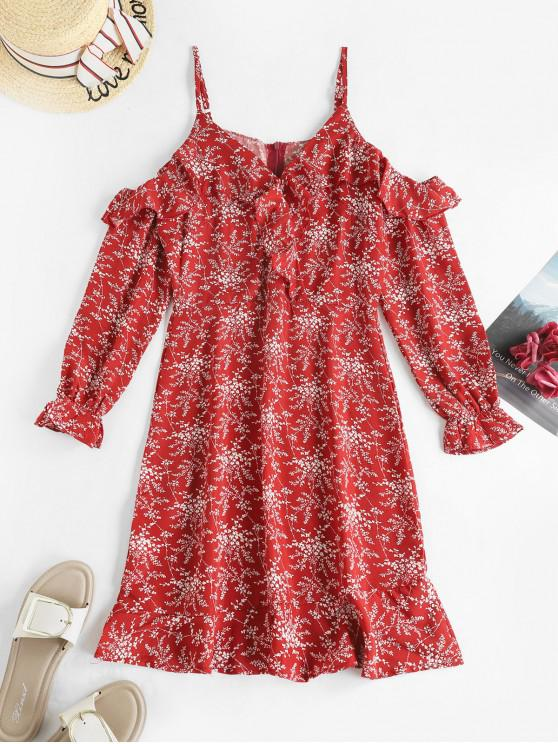 new Ditsy Floral Ruffles Cold Shoulder Long Sleeve Dress - RED XL