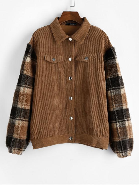 hot ZAFUL Plaid Faux Shearling Sleeve Corduroy Jacket - LIGHT BROWN L