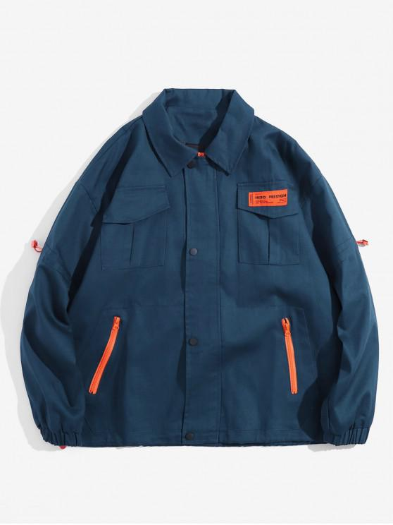 unique Applique Flap Pocket Contrast Color Cargo Jacket - PEACOCK BLUE M