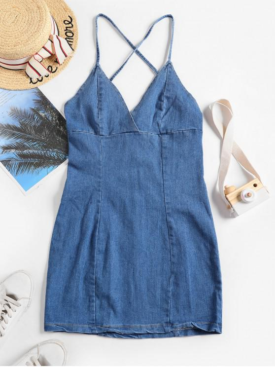 chic Denim Criss Cross Back Mini Bodycon Dress - BLUE M