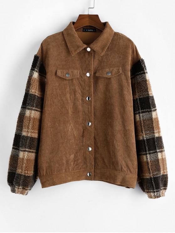 womens ZAFUL Plaid Faux Shearling Sleeve Corduroy Jacket - LIGHT BROWN S
