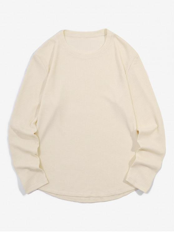 hot Casual Style Solid Color Long-sleeved T-shirt - LIGHT KHAKI XL