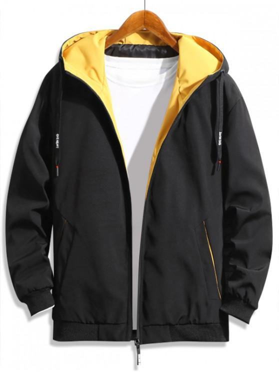 ladies Casual Color Spliced Zip Up Hooded Jacket - YELLOW XL