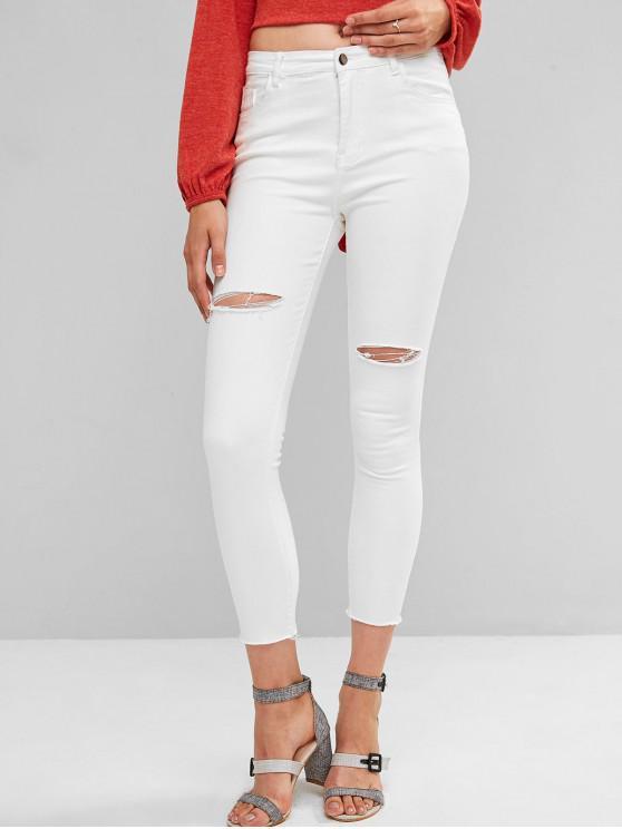 fancy Ripped Frayed Hem Skinny Jeans - WHITE M