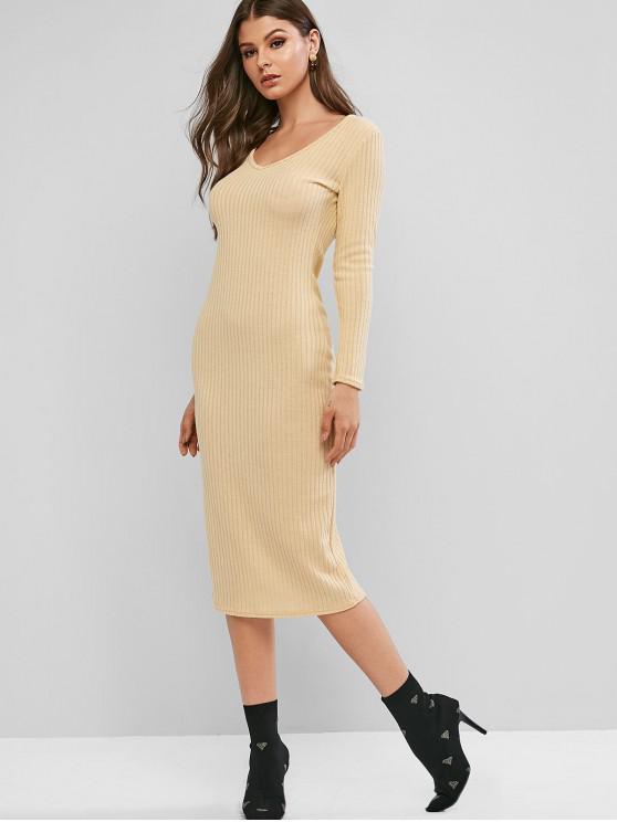 women's Ribbed Long Sleeve Midi Bodycon Knit Dress - APRICOT M