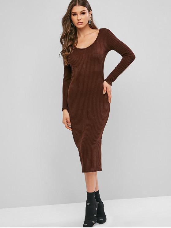 affordable Ribbed Long Sleeve Midi Bodycon Knit Dress - COFFEE L
