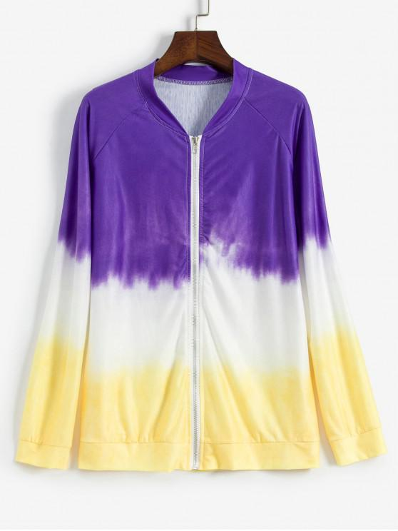 lady Tie Dye Raglan Sleeves Zip Up Jacket - MULTI L