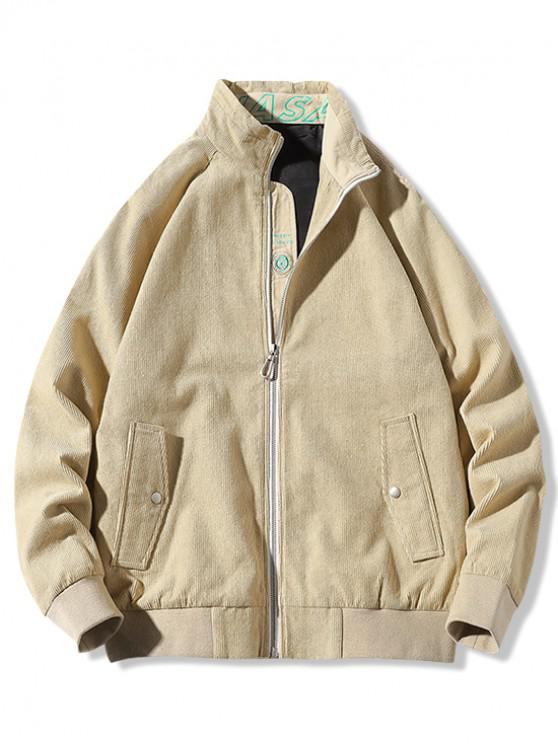 outfit Letter Print Splicing Raglan Sleeve Jacket - KHAKI XL