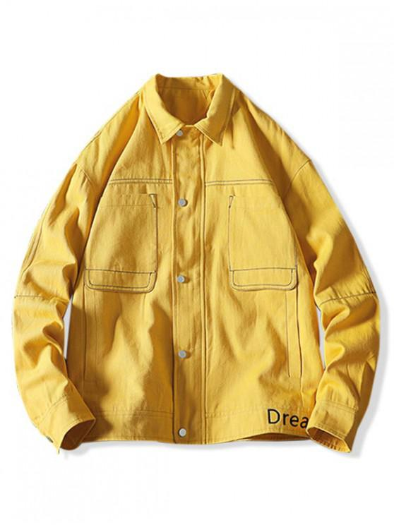 hot Letter Embroidery Stitching Pocket Cargo Jacket - YELLOW M