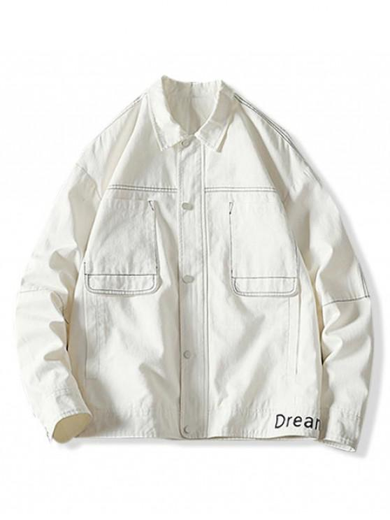 outfit Letter Embroidery Stitching Pocket Cargo Jacket - WHITE XL