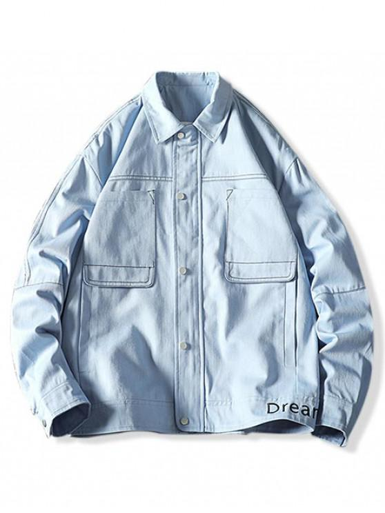 outfits Letter Embroidery Stitching Pocket Cargo Jacket - LIGHT BLUE 3XL