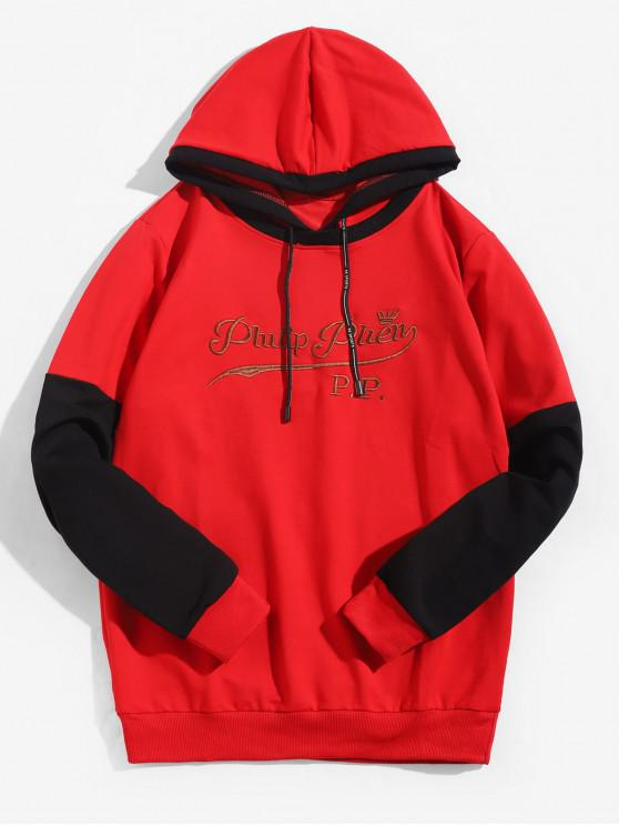 best Embroidery Letter Colorblocking Panel Hoodie - RED M