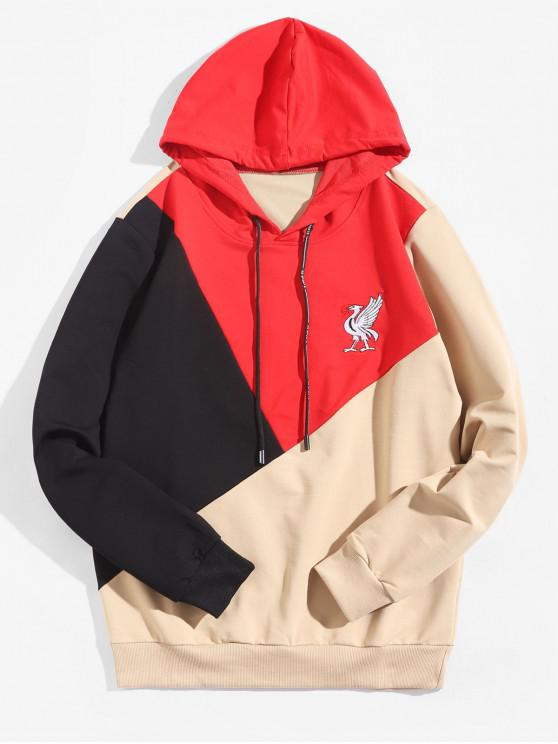 lady Colorblock Splicing Embroidery Animal Hoodie - RED M