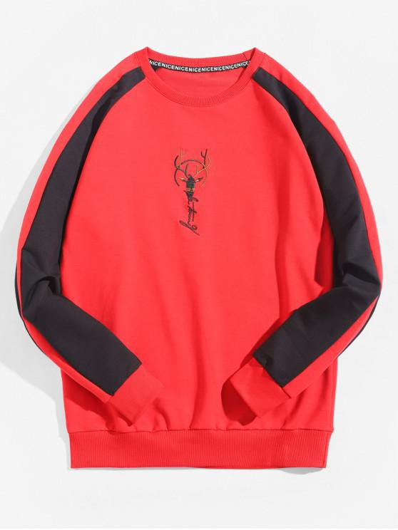 hot Colorblock Splicing Embroidery Raglan Sleeve Sweatshirt - RED XS