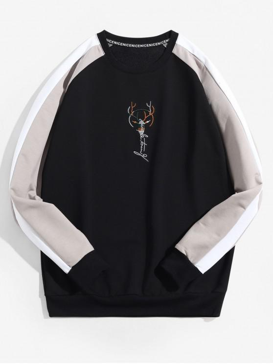 outfits Colorblock Splicing Embroidery Raglan Sleeve Sweatshirt - BLACK S
