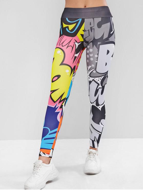 fancy Letter Graphic Elastic Waist Skinny Leggings - MULTI XL