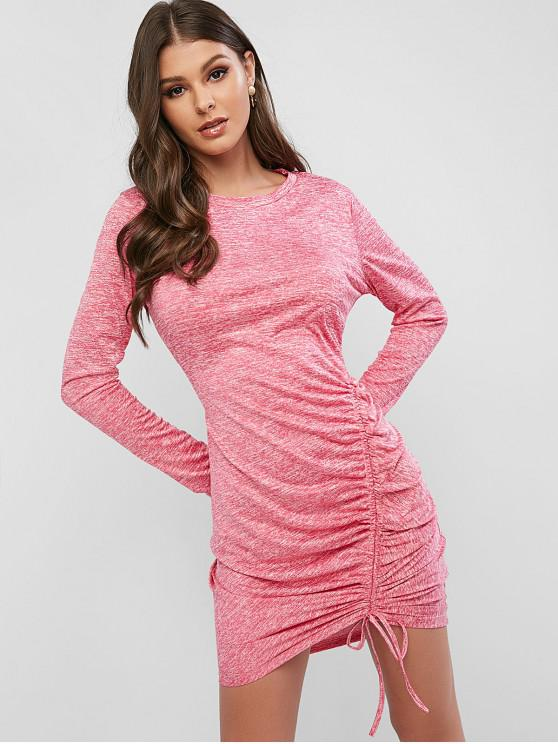 outfits Heathered Cinched Bodycon Dress - PINK M
