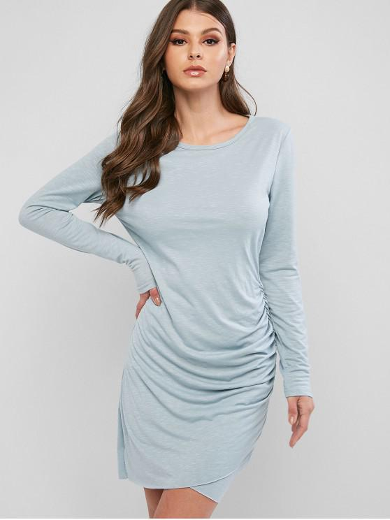 shops Ruched Tulip Hem Bodycon Dress - BLUE S