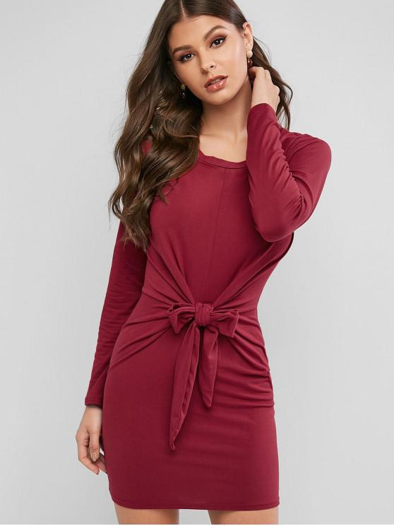 С длинными рукавами Талия с бантом Платье - Красное вино XL