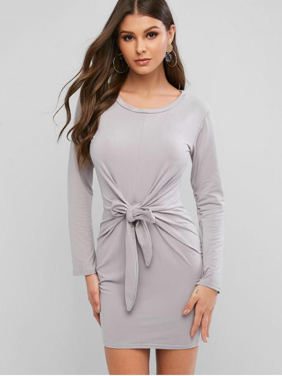 buy Long Sleeve Tie Waist Bodycon Tee Dress - GRAY L