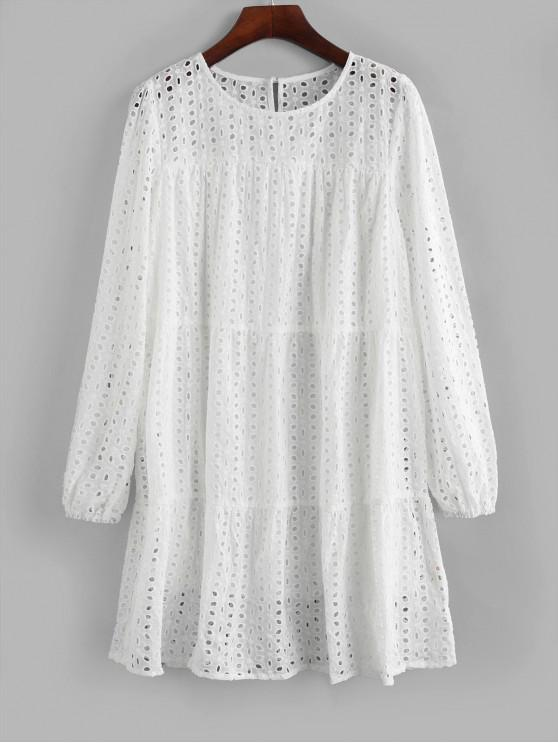 lady ZAFUL Long Sleeve Eyelet Mini Straight Dress - WHITE M