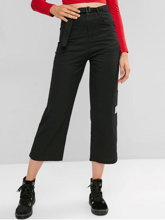 latest Pocket Straight Zip Fly Belted Casual Pants - BLACK XL