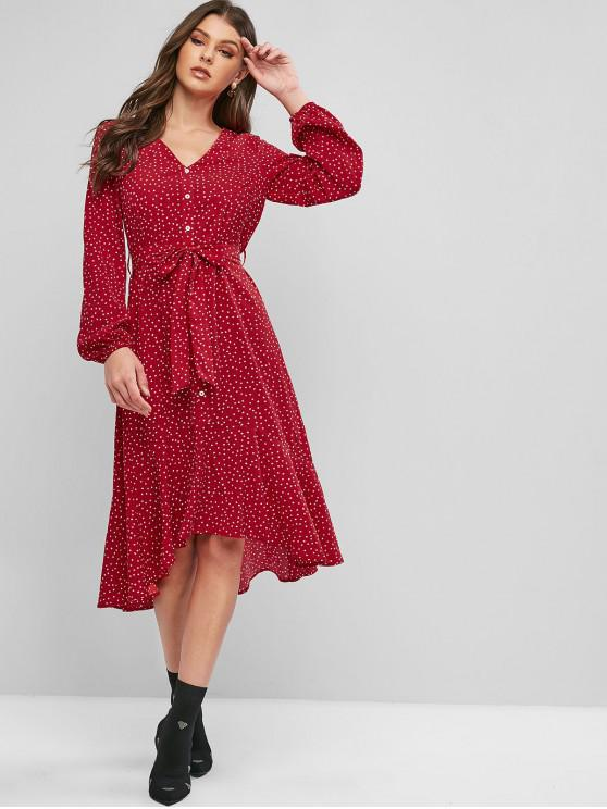 affordable ZAFUL Buttons Printed Belted High Low Dress - LAVA RED M