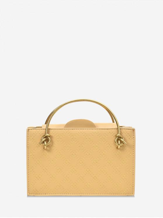 womens Casual Solid Square Chain Shoulder Bag - YELLOW