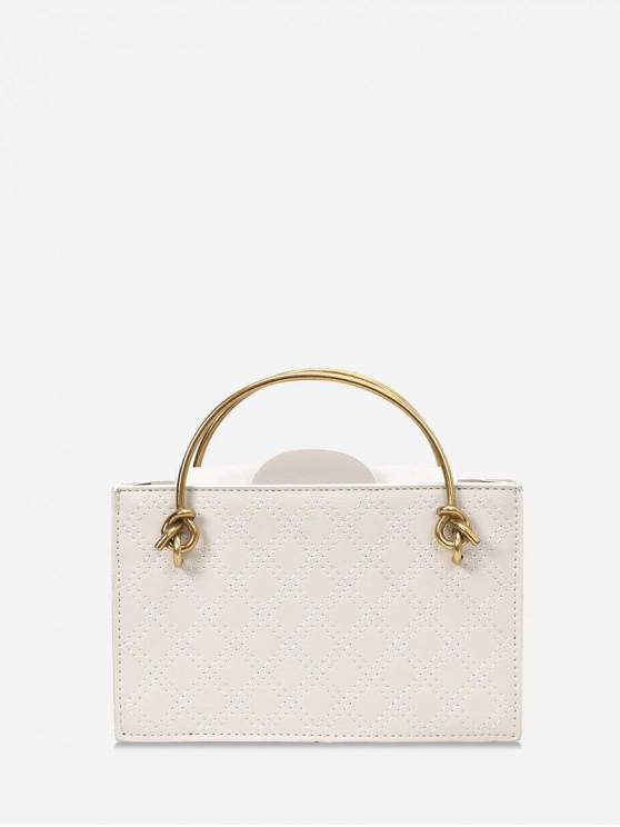 women's Casual Solid Square Chain Shoulder Bag - WHITE