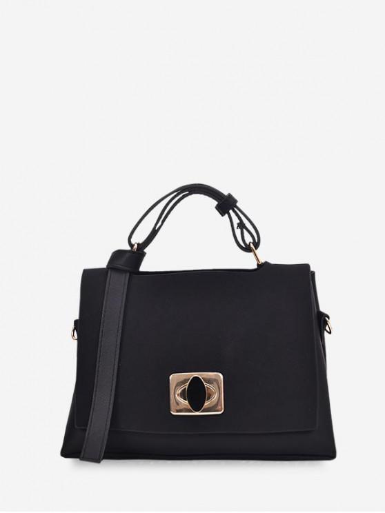 ladies Cover Jointed Hasp Shoulder Bag - BLACK