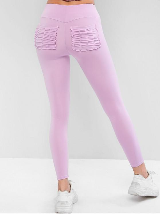 new High Waisted Ruched Back Pockets Leggings - MAUVE M