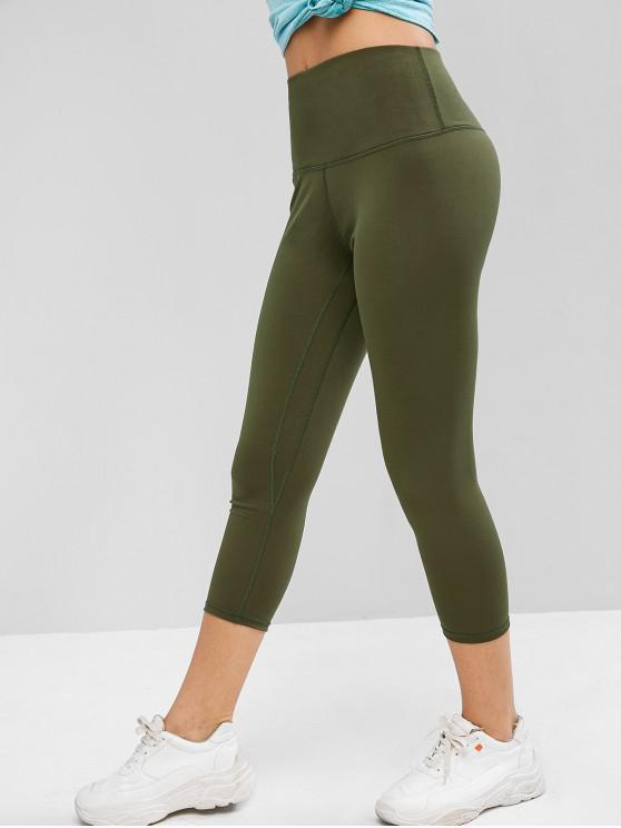 chic High Waisted Topstitching Capri Leggings - ARMY GREEN S