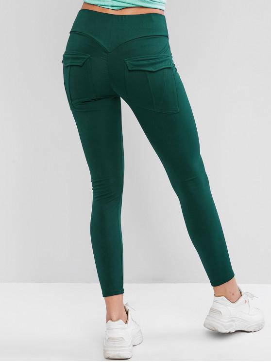 outfit Back Pocket Ninth High Waisted Leggings - MEDIUM SEA GREEN L
