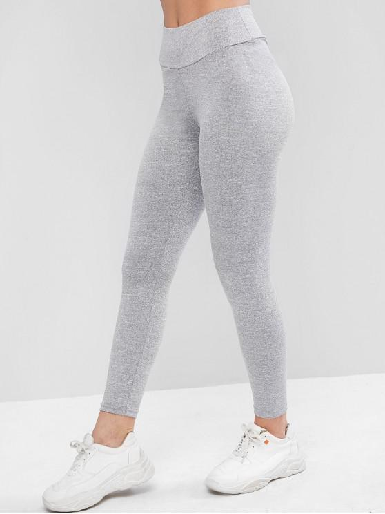 fashion Ruched Back Heather Gem Leggings - GRAY M