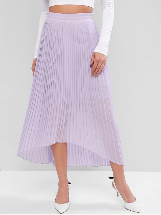 fancy ZAFUL Solid High Low Pleated Maxi Skirt - PURPLE L