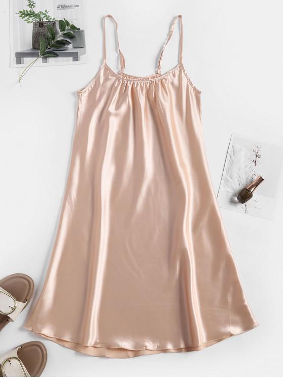 Vestido de noche de tirantes ajustables de satén - Albaricoque S