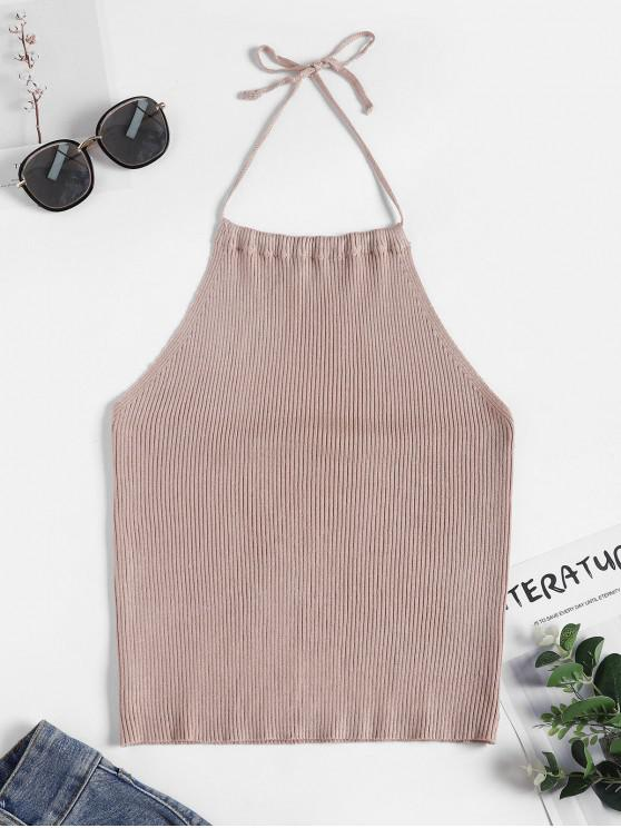 unique Halter Ribbed Knit Tank Top - LIGHT KHAKI M