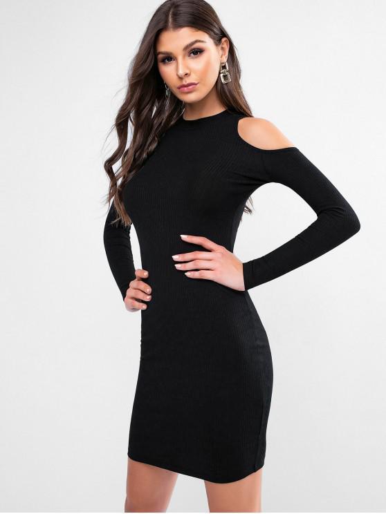 fashion Cold Shoulder Ribbed Solid Sheath Dress - BLACK ONE SIZE