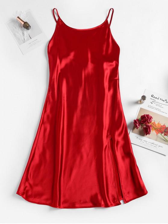 ladies Satin Slit Cami Night Dress - RED M