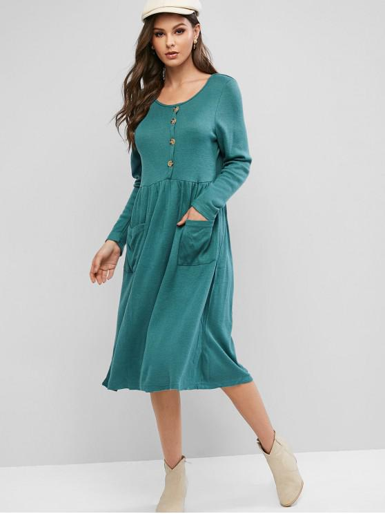 lady Knitted Pocket Button Embellished Dress - GREENISH BLUE M