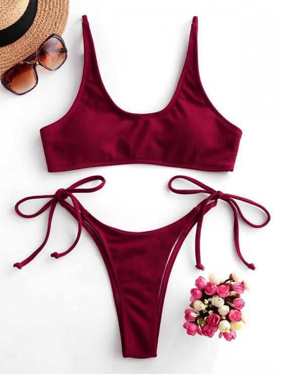 affordable ZAFUL Ribbed Tie Side High Leg Bikini Swimsuit - RED WINE M