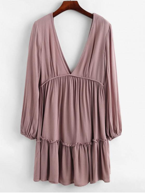 latest Solid Long Sleeve Double V Mini Dress - ROSE L