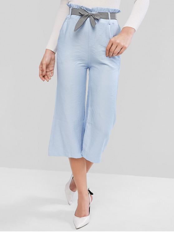 latest Paperbag Waist Pocket Wide Leg Pants - BLUE M