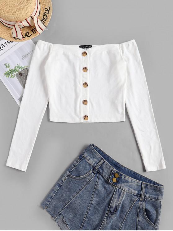 women ZAFUL Buttons Off Shoulder Crop Tee - WHITE S