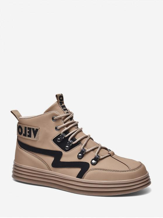fancy Letter Tape Trim High Top Skate Shoes - SANDY BROWN EU 39