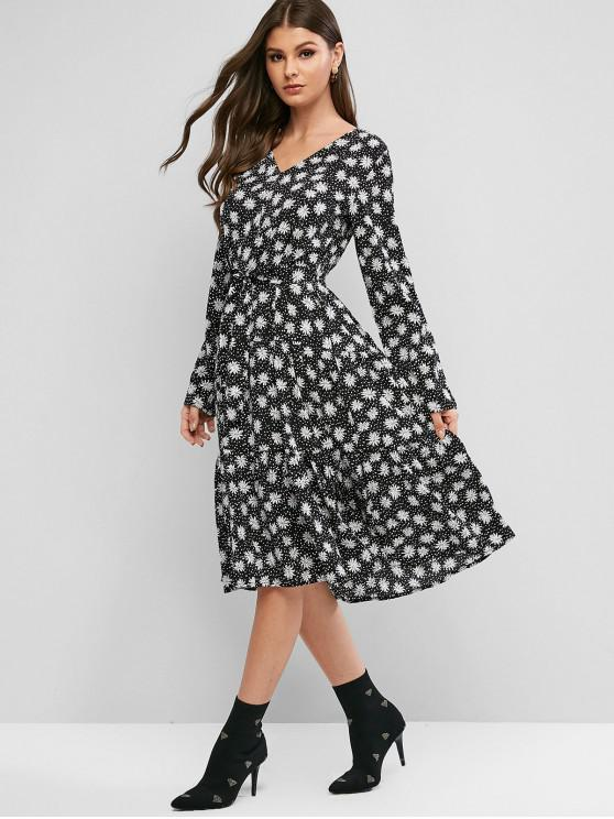 hot Floral Roll Tab Sleeve Belted Flounce Midi Dress - BLACK M